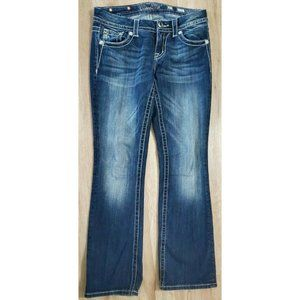 Miss Me Womens Mid-Rise Easy Boot Blue Jeans 27